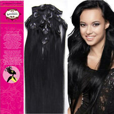 15inch Long Straight 7pcs Clip In Tips Remy Human Hair Extension Color#01  70g