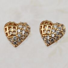 Yellow Gold Filled Stud Earrings h2714 Beautiful Hot heart White Cz Gems Jewelry