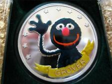 1- OZ. PURE SILVER.999 (GROVER) 20TH ANNIVERSARY SESAME STREET BIG BIRD + GOLD
