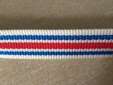 """Vintage 70's Nylon webbing strap bag belt making red white blue 1"""" wide"""