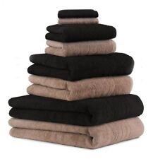 Set di 8 asciugamani da bagno DELUXE, colore: marrone moka e nero