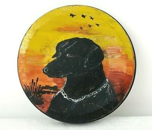 Vintage Hand Painted Black Lab Labrador Dog Hunting Metal Lid Folk Art Painting