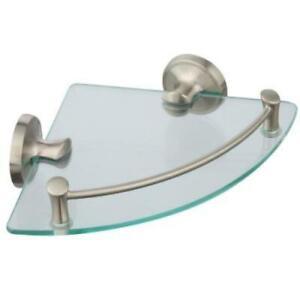 Delta 8 in. W Glass Corner Shelf in Brushed Nickel