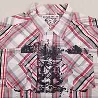 Parish Nation Men's Button Up Short Sleeve Shirt Size 2XL XXL Plaid White Red