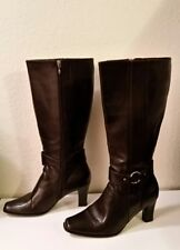Life Stride Shout Woman's Size 9.5M Brown Silver Buckles Heeled Mid Calf Boots