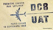 1960 DC8  UAT PARIS DAKAR    Airmail Aviation premier vol AC10