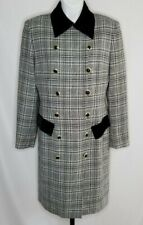 Evan Picone Dress Size 8 Double Breasted Houndstooth Lined Velvet Accents Wool
