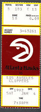 Atlanta Hawks vs LA Clippers January 4 1992 Ticket Stub
