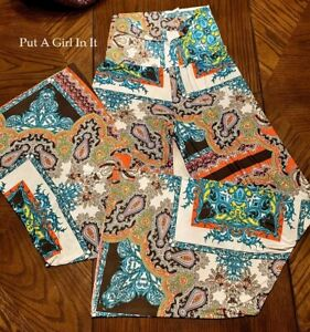 J UP FOLD OVER WHITE PAISLEY HIPPIE TALL WIDE FLOWY YOGA PALAZZO PANTS S M L USA