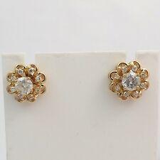 NEW 14K  Gold 1/3ctw Diamond Halo Stud Earring Enhancer Jackets
