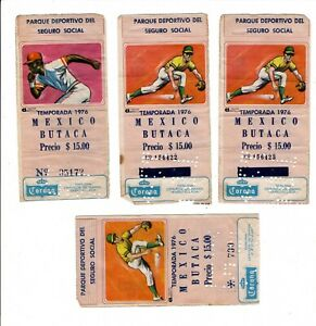 1976 Orig Mexican Baseball SEGURO SOCIAL Stadium 4 Colorful Ticket Stubs