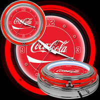 """Coca-Cola Collectable Clock 14"""" Dynamic Double-Ringed Neon Lighting Glass Cover"""