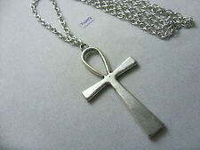 "A Egyptian Ankh Cross Tibetan Silver Charm Pendant, Long 30"" Chain Necklace"