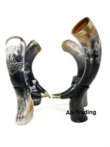 Natural Medieval Viking Dining Bovine Horn Beer Ale Drinking Cup Mug With Stand