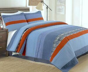 Navy Burnt Sienna Denim Plaid 100%Cotton Quilt Set, Bedspread, Coverlet