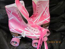 Pair of Women size 8, Heel to toe 9 7/8 in. Pink/Hot Pink & White Roller Skates