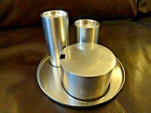 Vintage Stelton Cylinda Line Arne jacobsen Salt Pepper & Mustard Cruet Set