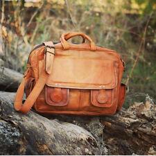 Classic Vintage Genuine Leather Crossbody Laptop Briefcase Spacious Rich Bag G62