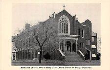 B31/ Perry Oklahoma Ok Postcard c1940s Methodist Church Church Plants in Perry