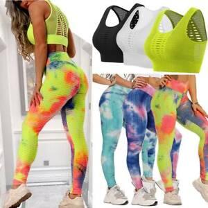 Women Yoga Suit Seamless Crop Top Pants Leggings Sports Set Gym Fitness Workout