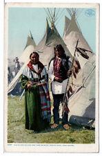Postcard 1907 White and Yellow Cow Singing Bird Arapaho Missouri Indians Unused