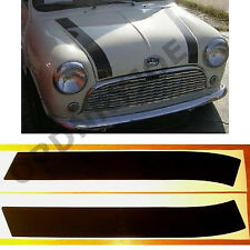Classic (Rover) MINI bonnet stripes. BLACK/white/silver
