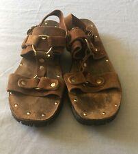 Cool Vintage 70's Leather Sandals Brown Rivets Fits Mens 8.5