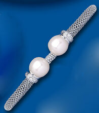 Bangle Pearl Solid Silver Torque Bracelet Freshwater Ladies Sterling Silver