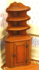 Beautiful Jim Ison Corner Cupboard Cherry Finish - Artisan Dollhouse Miniature