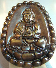 Vintage Large Ornate Carved  Budda in Agate glass Pendant  Estate Jewelry fab