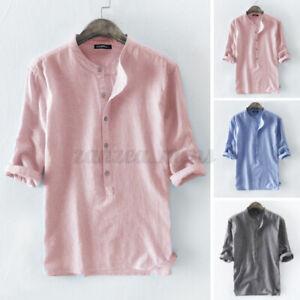 Mens 3/4 Sleeve Shirt Cotton Linen Retro Striped Tops Casual Beach Shirts Summer