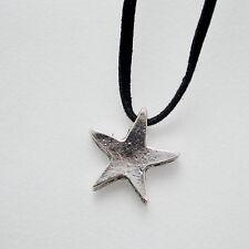 Vintage Antique Silver Star Charm Black Long Faux Suede Cord Pendant Necklace