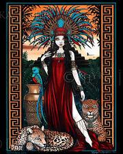 Toltec Jaguar Shaman Quetzal Priestess Zyanya Signed Myka Jelina Print
