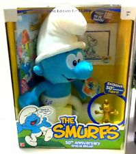 "Smurfs 50th Anniversary Special Edition 12"" Plush + DVD 1st Sketch & Gold Figure"