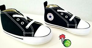CONVERSE New Born Crib Infant Baby Booties My First Star Hi Size 2 Black NWB