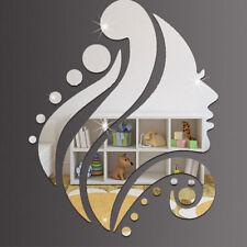 Romantic 3D Beauty Lady Acrylic Mirror Wall Sticker Home Mural Decal Decor Art