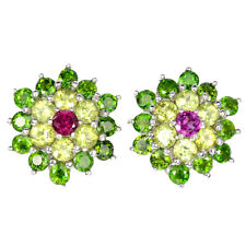 Unheated Round Rhodolite Chrome Diopside Peridot 925 Sterling Silver Earrings