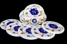 Marble Inlay white Coaster Pietra Dura Handicrafts Home Decor