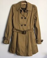 Topshop Size 12 Vintage Style Camel Fit & Flare Belted Trench Coat