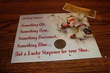 1961 British LUCKY WEDDING SIXPENCE Coin + Presentation Post Card