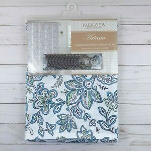 Fabric Shower Curtain Ariana Paisley Blue Green Hooks Included 70x72