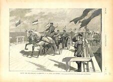 Kaiser Guillaume II & tsar Nicolas II au débarquaire de Peterhof GRAVURE 1897