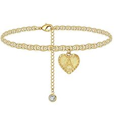 Crystal Droplets Letter Anklet Jewelry Gold Heart Initials Ankle Bracelet
