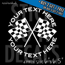 Personalized Checkered Flag Decal - Custom Vinyl Graphic Bumper Sticker Car Race