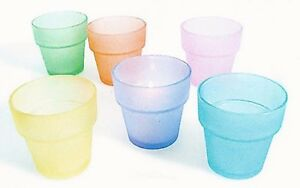 1-Votive/Tealight Flower Pot Holder~Clear & Pastel Frosted Colored Holders