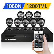 DEFEWAY Outdoor 1500TVL IR Home Security Camera 8 CH 1080N HD HDMI DVR System