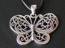 Schmetterling 925'er Silber GROSS Ketten Anhänger mit Lederband  / KA138
