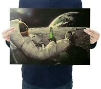 Astronaut Mond Carlsberg Bier  Poster Plakat Portrait Bild Wand Deko Kunst Neu