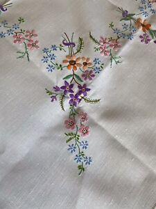 Pretty Vintage Flora Hand Embroidered Cream Irish Linen Medium Square Tablecloth