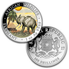 2017 Somalia 2-Coin 1 oz Silver Elephant Set Day/Night (Colored) - SKU #103946